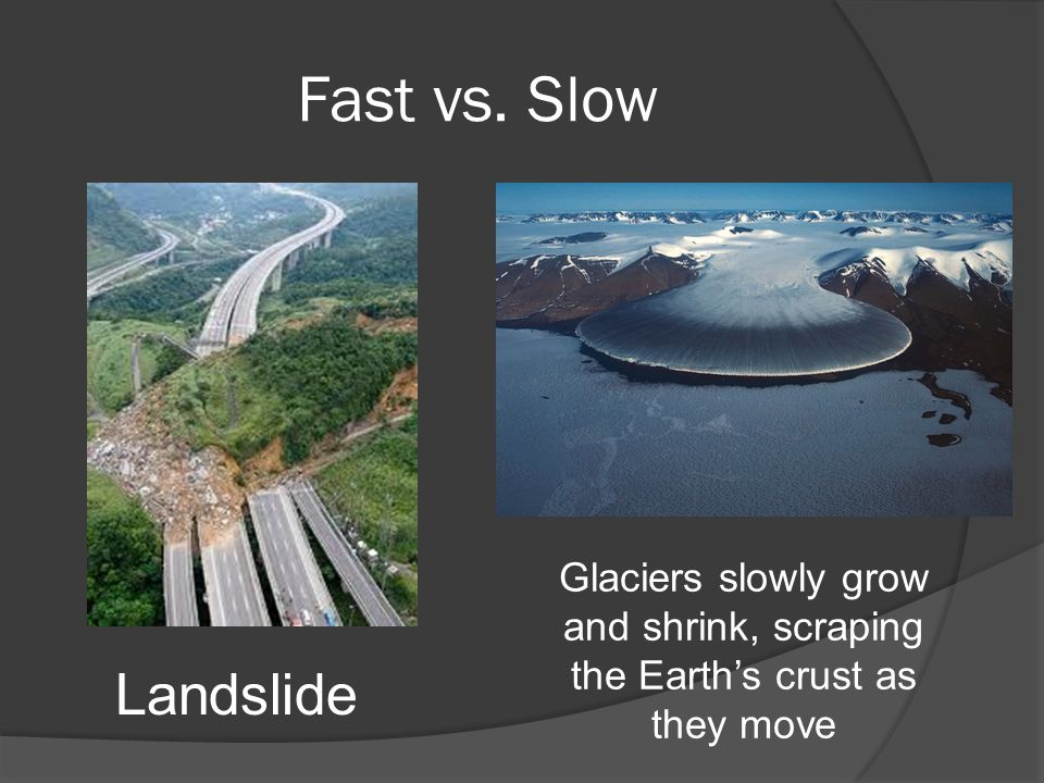 Fast vs. Slow Landslide Glaciers slowly grow and shrink, scraping the Earth's crust as they move