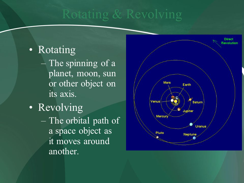 Rotating & Revolving Rotating –The spinning of a planet, moon, sun or other object on its axis. Revolving –The orbital path of a space object as it mo