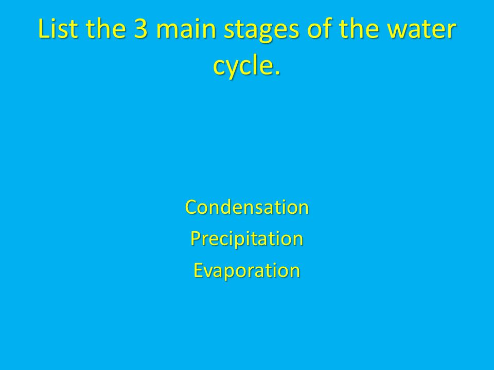 List the 3 main stages of the water cycle. CondensationPrecipitationEvaporation