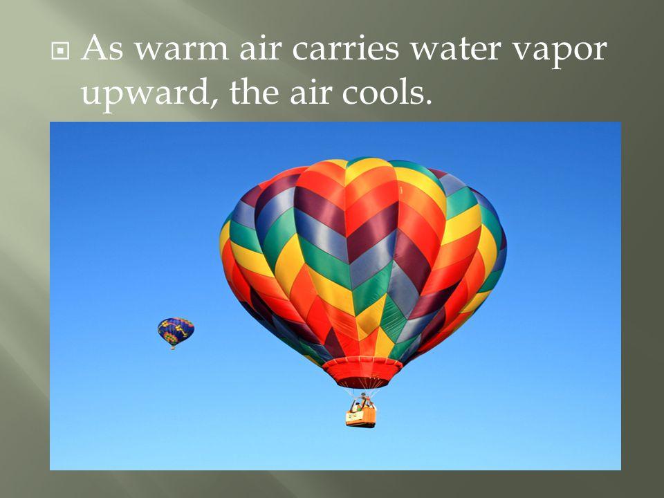  As warm air carries water vapor upward, the air cools.