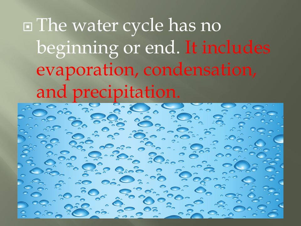 The water cycle has no beginning or end.
