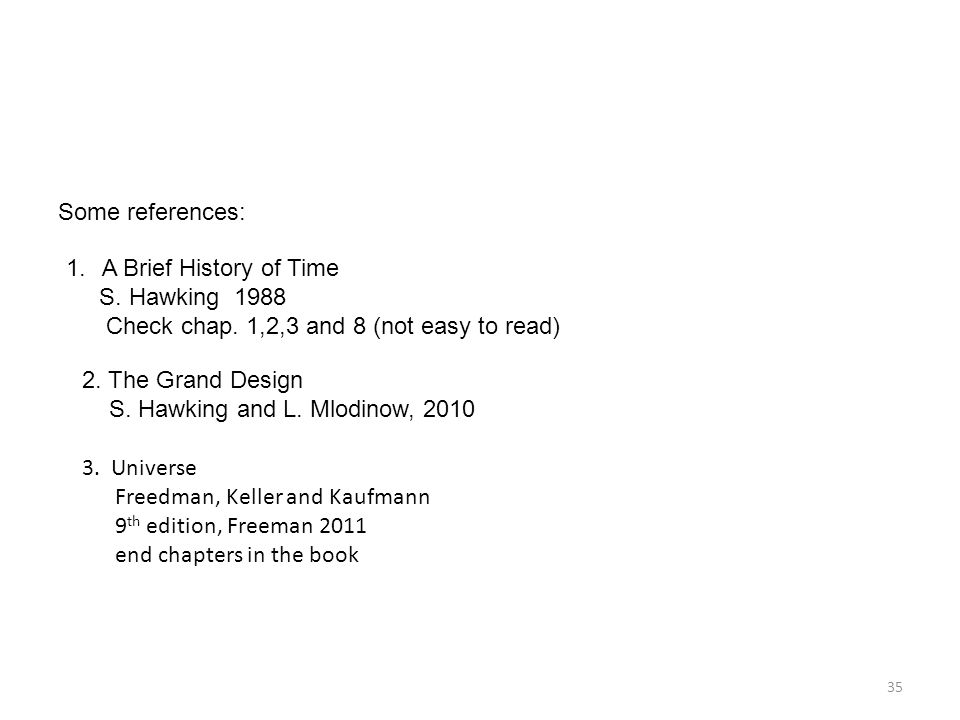 35 Some references: 1.A Brief History of Time S. Hawking 1988 Check chap.