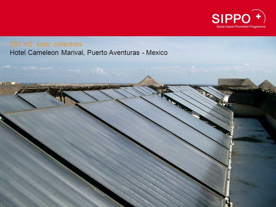 250 m2 solar collectors Hotel Cameleon Marival, Puerto Aventuras - Mexico