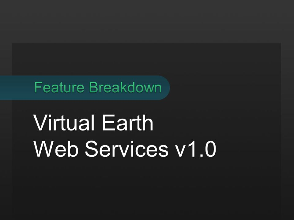 Virtual Earth Web Services v1.0