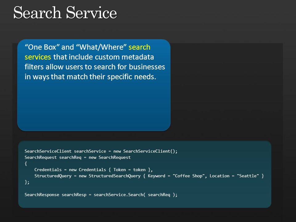 Search Service One Box and What/Where search services that include custom metadata filters allow users to search for businesses in ways that match their specific needs.