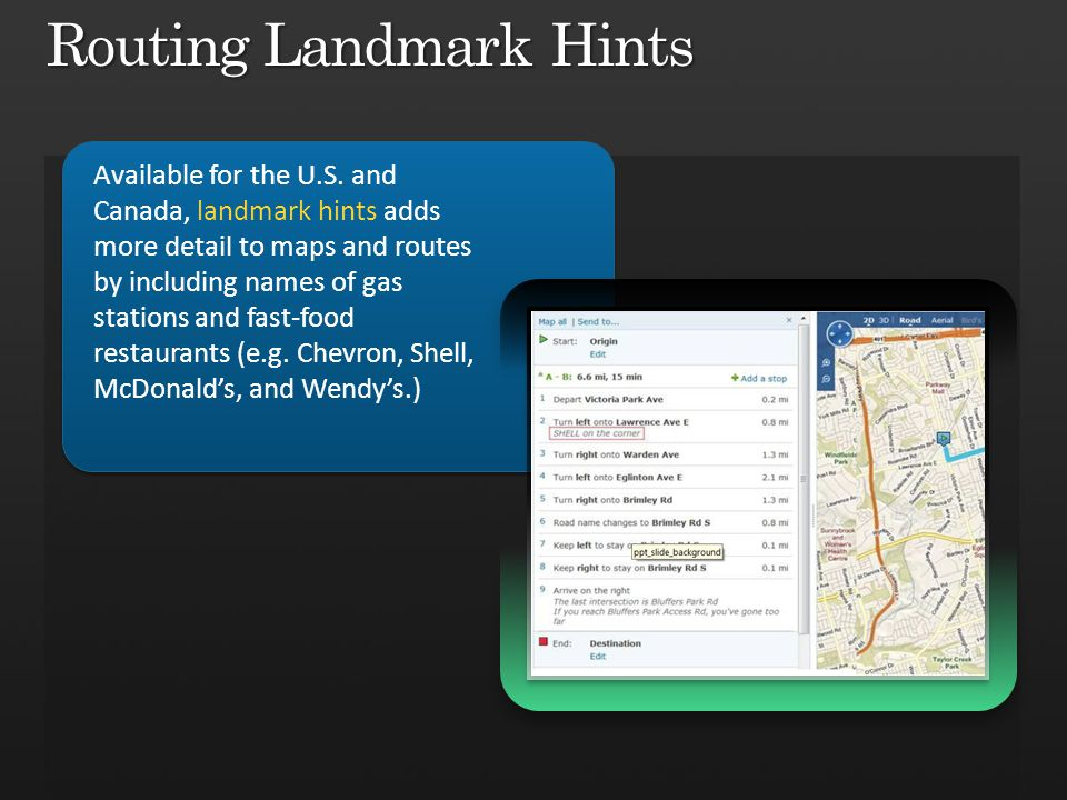 Routing Landmark Hints Available for the U.S.