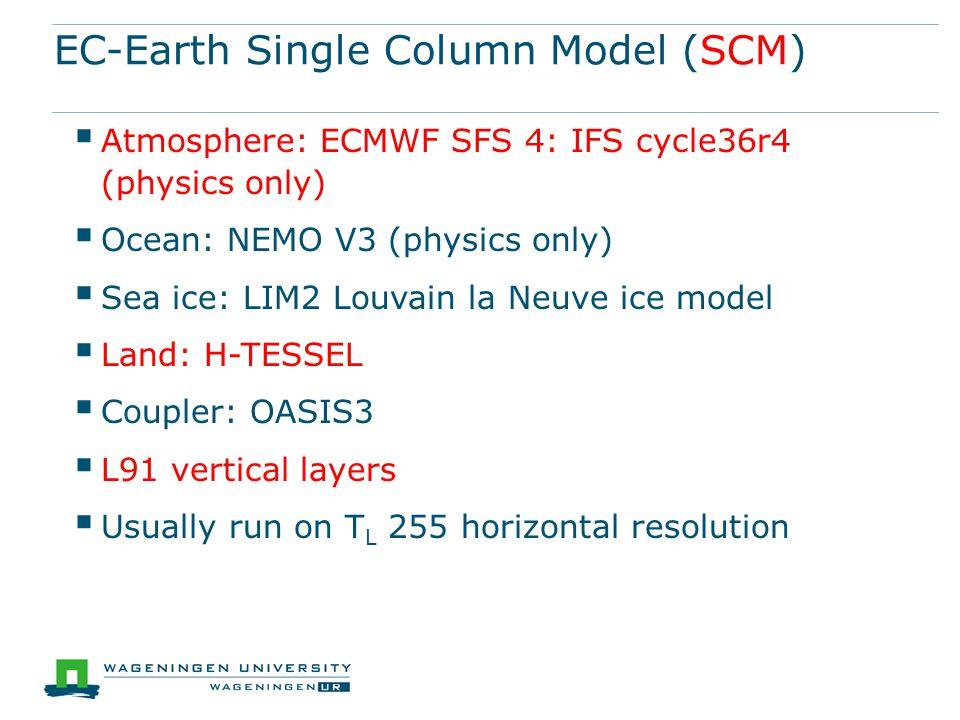EC-Earth Single Column Model (SCM)  Atmosphere: ECMWF SFS 4: IFS cycle36r4 (physics only)  Ocean: NEMO V3 (physics only)  Sea ice: LIM2 Louvain la Neuve ice model  Land: H-TESSEL  Coupler: OASIS3  L91 vertical layers  Usually run on T L 255 horizontal resolution