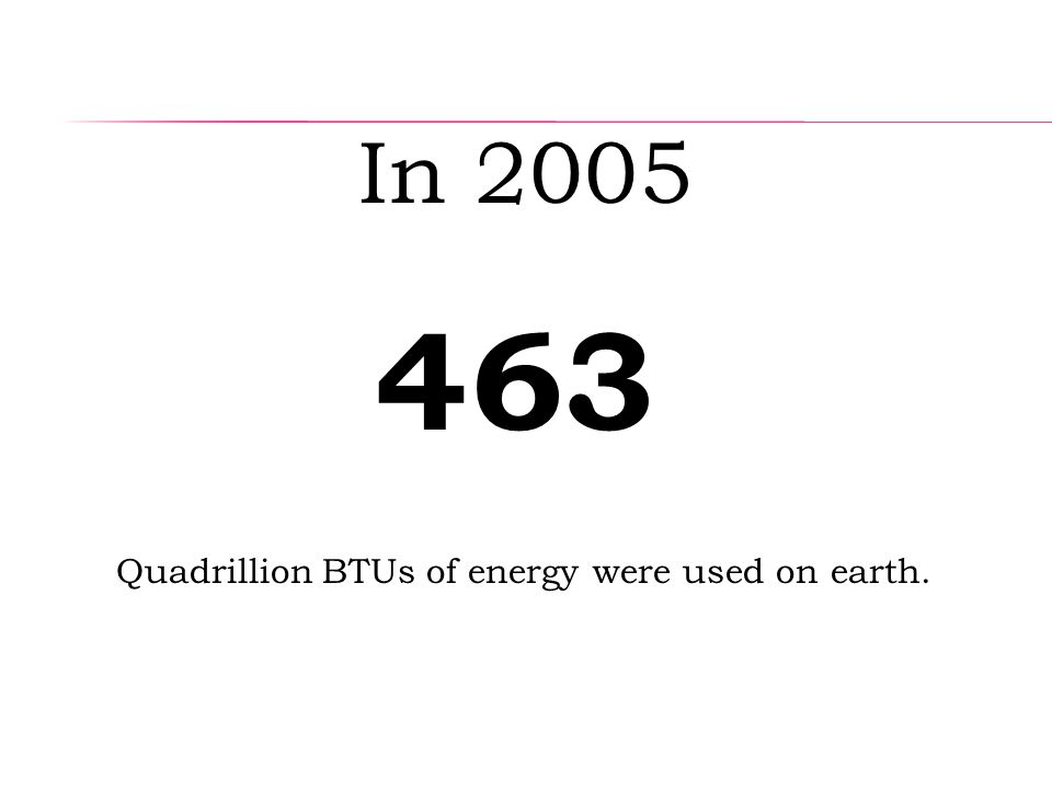 Quadrillion BTUs of energy were used on earth. 4 In 2005 63