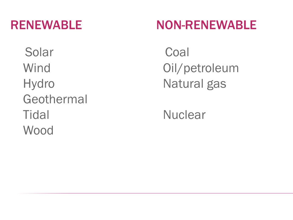RENEWABLE NON-RENEWABLE Solar Wind Hydro Geothermal Tidal Wood Coal Oil/petroleum Natural gas Nuclear
