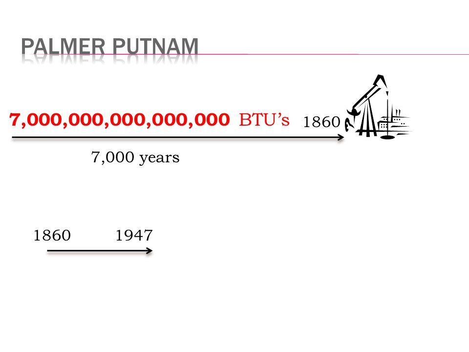 19471860 7,000 years 1860 7,000,000,000,000,000 BTU's