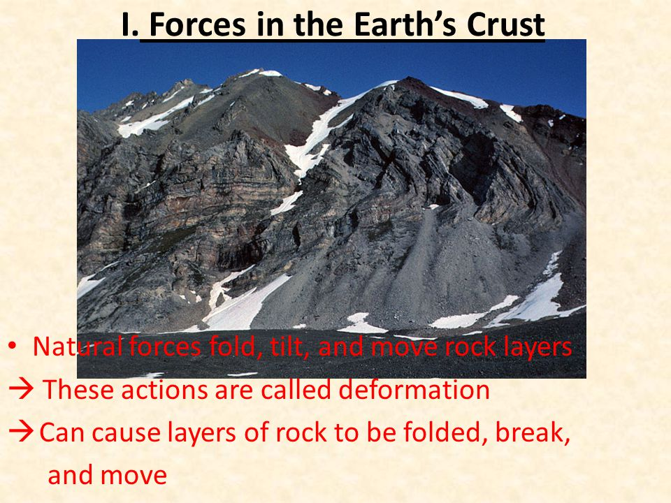 I. Forces in the Earth's Crust Natural forces fold, tilt, and move rock layers  These actions are called deformation  Can cause layers of rock to be