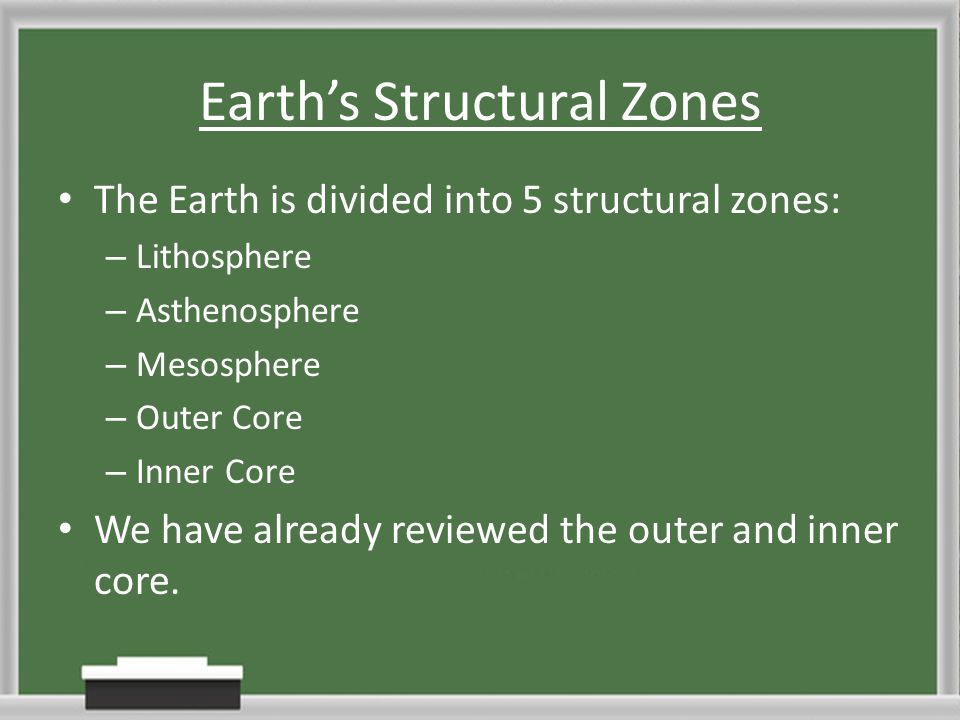Earth's Structural Zones The Earth is divided into 5 structural zones: – Lithosphere – Asthenosphere – Mesosphere – Outer Core – Inner Core We have al