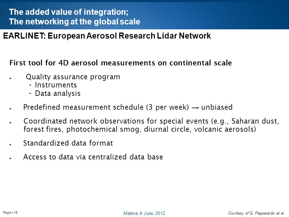 Page  18 First tool for 4D aerosol measurements on continental scale ● Quality assurance program - Instruments - Data analysis ● Predefined measurement schedule (3 per week) → unbiased ● Coordinated network observations for special events (e.g., Saharan dust, forest fires, photochemical smog, diurnal circle, volcanic aerosols) ● Standardized data format ● Access to data via centralized data base EARLINET: European Aerosol Research Lidar Network The added value of integration; The networking at the global scale Courtesy of G.