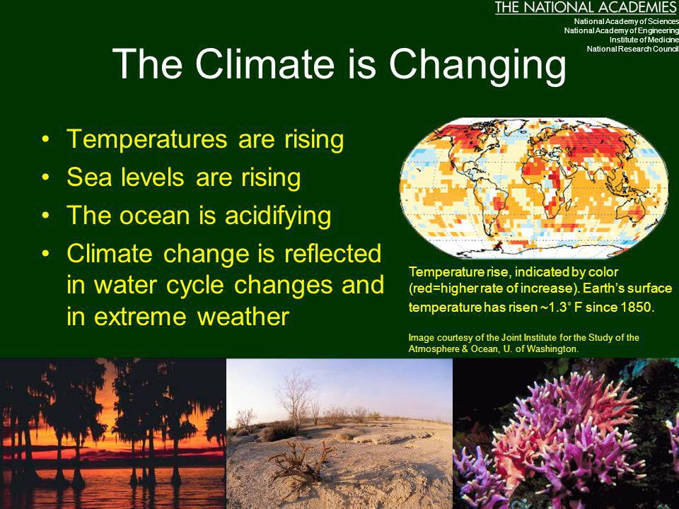 The Climate is Changing Temperatures are rising Sea levels are rising The ocean is acidifying Climate change is reflected in water cycle changes and in extreme weather Temperature rise, indicated by color (red=higher rate of increase).