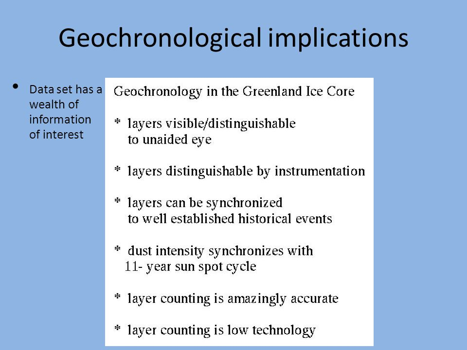 Geochronological implications Data set has a wealth of information of interest