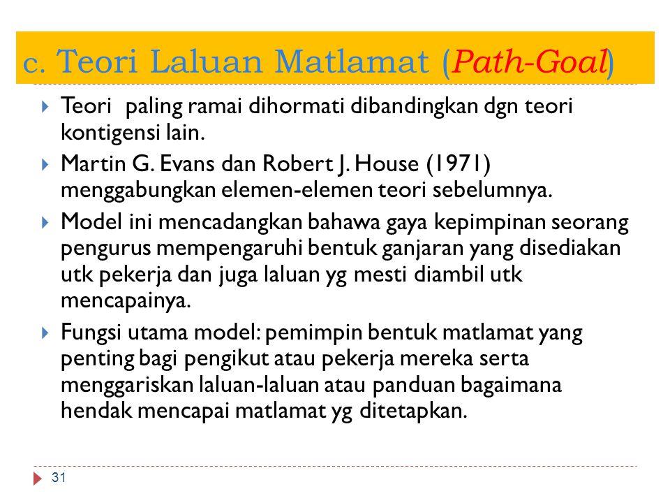 c. Teori Laluan Matlamat ( Path-Goal ) 31  Teori paling ramai dihormati dibandingkan dgn teori kontigensi lain.  Martin G. Evans dan Robert J. House