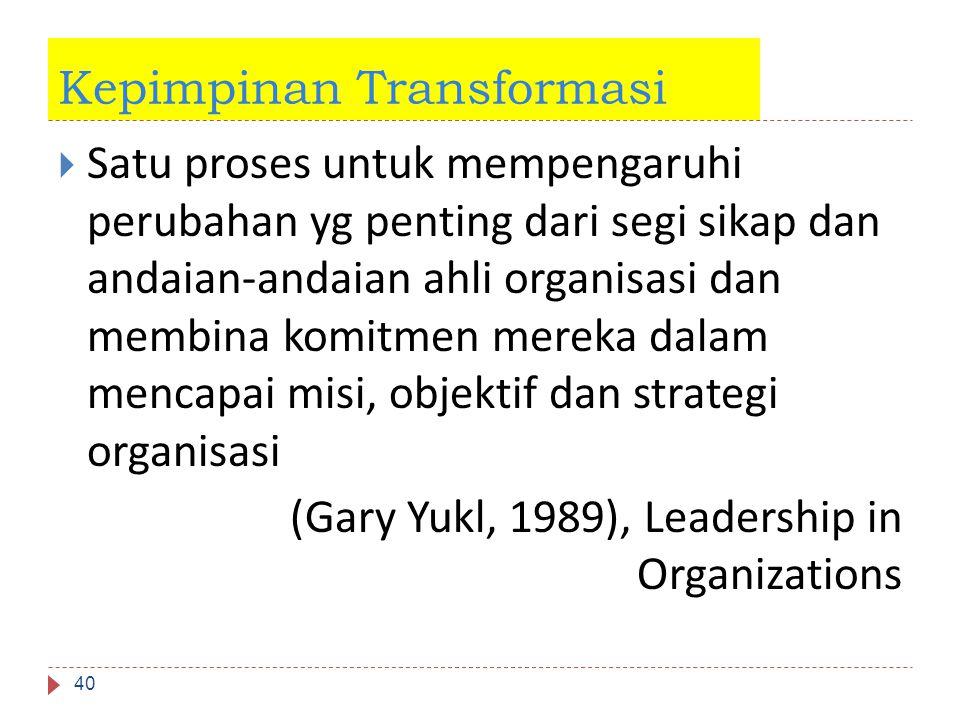 Kepimpinan Transformasi 40  Satu proses untuk mempengaruhi perubahan yg penting dari segi sikap dan andaian-andaian ahli organisasi dan membina komit