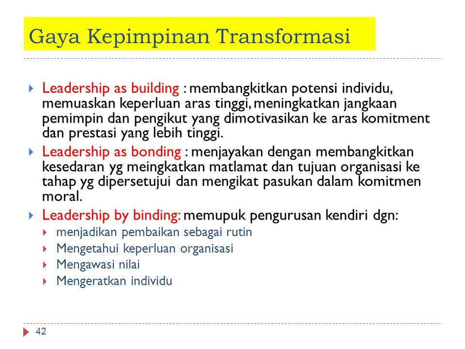 Gaya Kepimpinan Transformasi 42  Leadership as building : membangkitkan potensi individu, memuaskan keperluan aras tinggi, meningkatkan jangkaan pemi