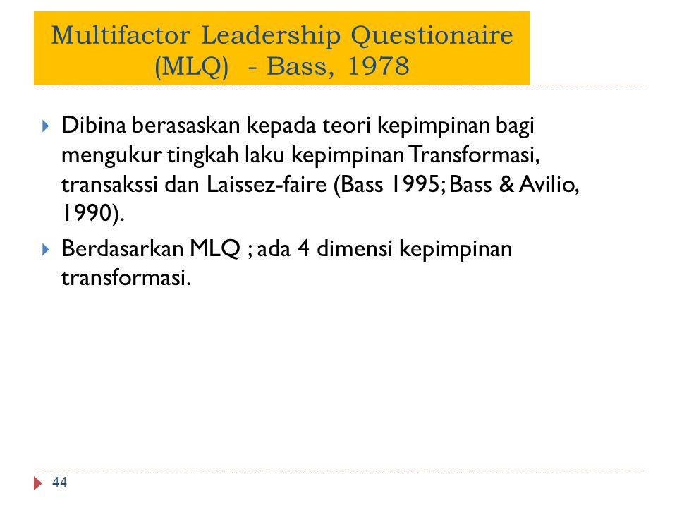 Multifactor Leadership Questionaire (MLQ) - Bass, 1978  Dibina berasaskan kepada teori kepimpinan bagi mengukur tingkah laku kepimpinan Transformasi,