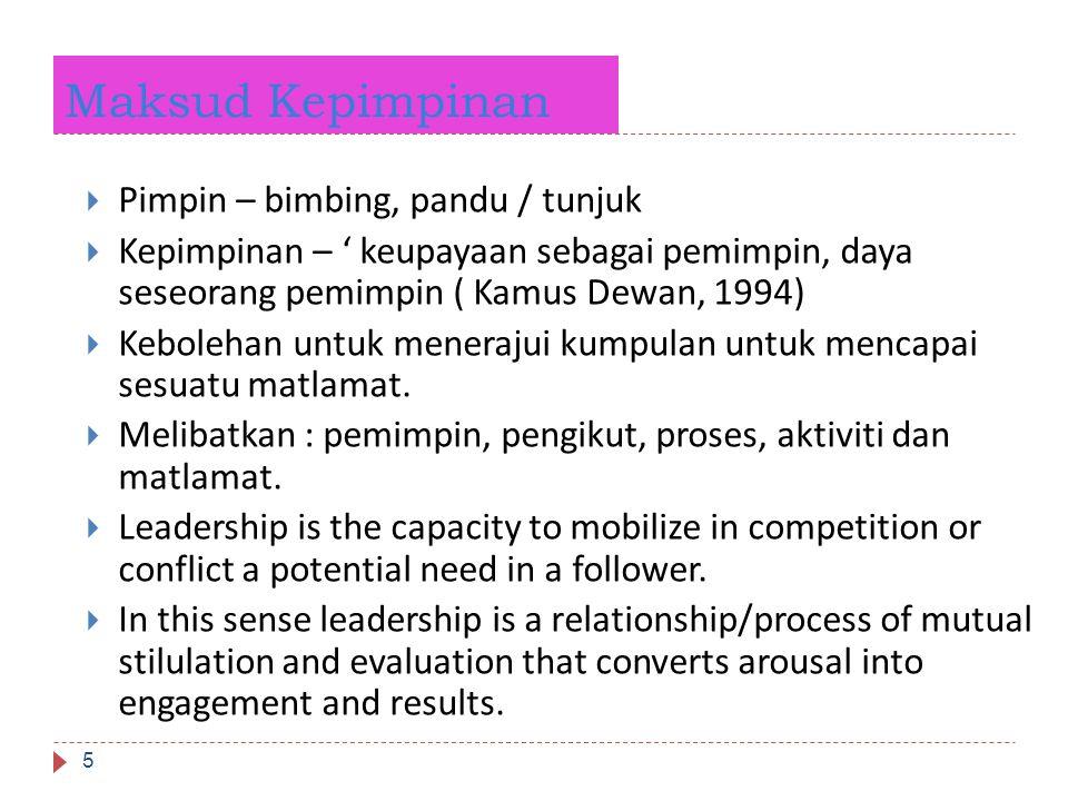 Maksud Kepimpinan 5  Pimpin – bimbing, pandu / tunjuk  Kepimpinan – ' keupayaan sebagai pemimpin, daya seseorang pemimpin ( Kamus Dewan, 1994)  Keb