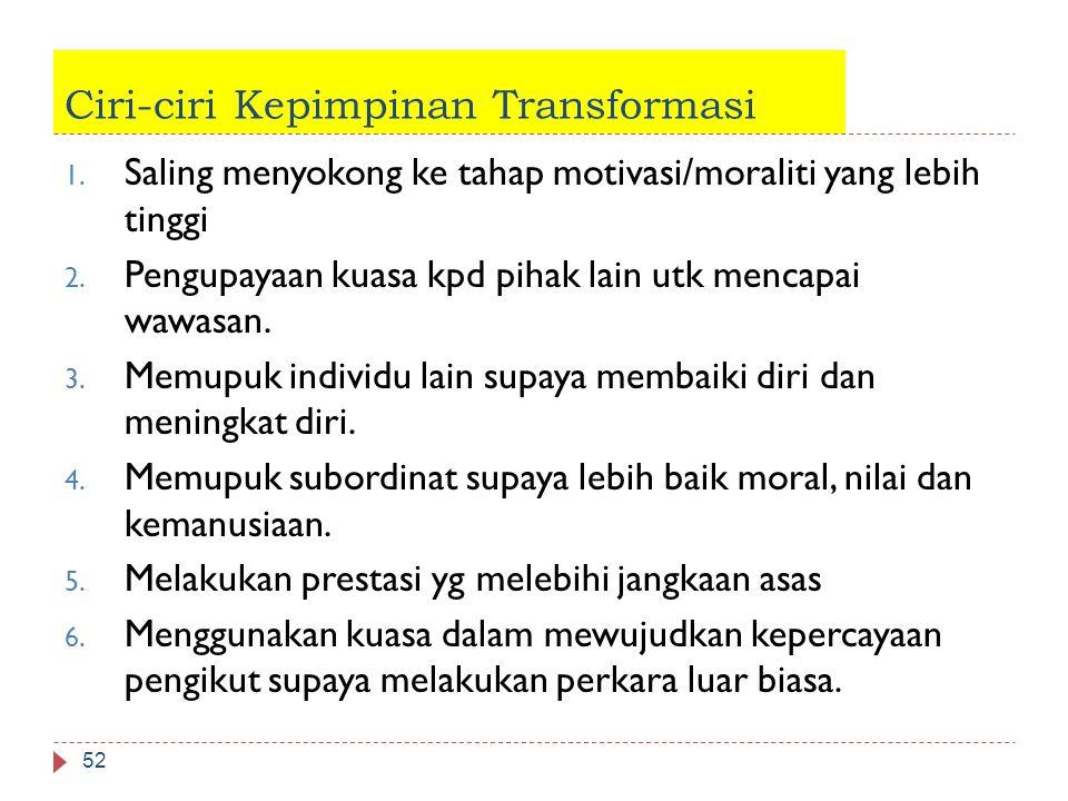 Ciri-ciri Kepimpinan Transformasi 52 1. Saling menyokong ke tahap motivasi/moraliti yang lebih tinggi 2. Pengupayaan kuasa kpd pihak lain utk mencapai