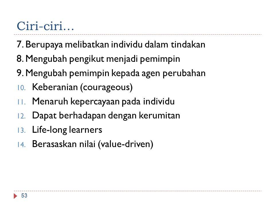 Ciri-ciri... 7. Berupaya melibatkan individu dalam tindakan 8. Mengubah pengikut menjadi pemimpin 9. Mengubah pemimpin kepada agen perubahan 10. Keber