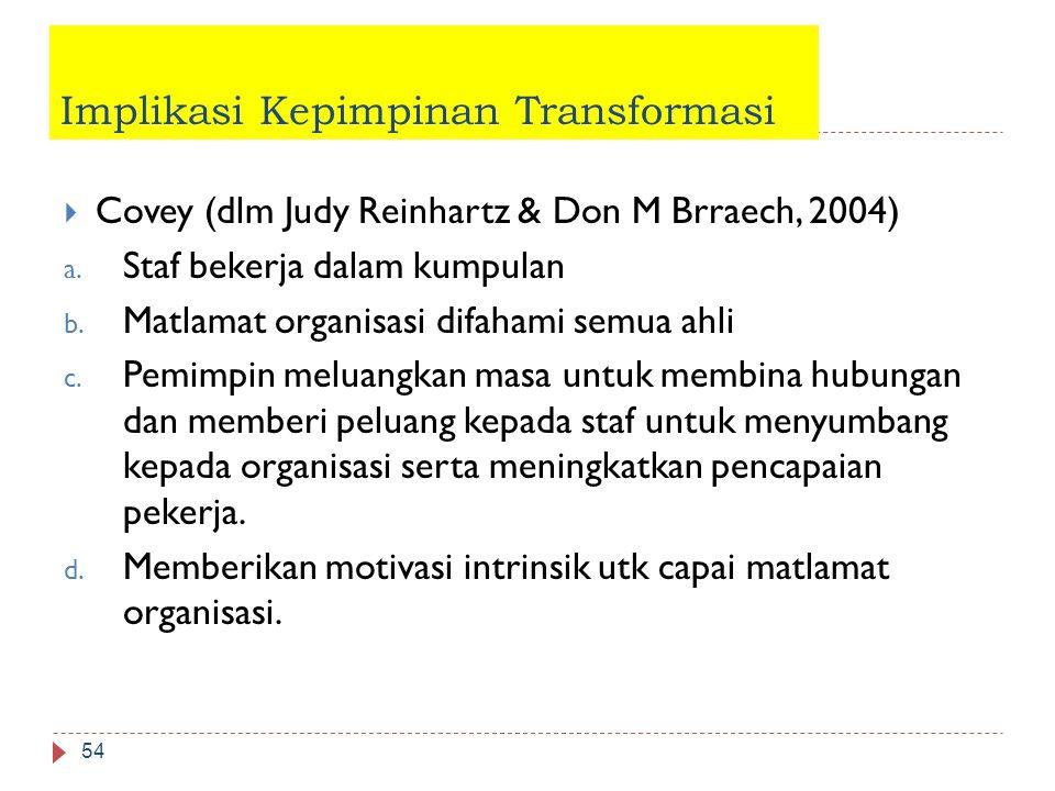 Implikasi Kepimpinan Transformasi  Covey (dlm Judy Reinhartz & Don M Brraech, 2004) a. Staf bekerja dalam kumpulan b. Matlamat organisasi difahami se