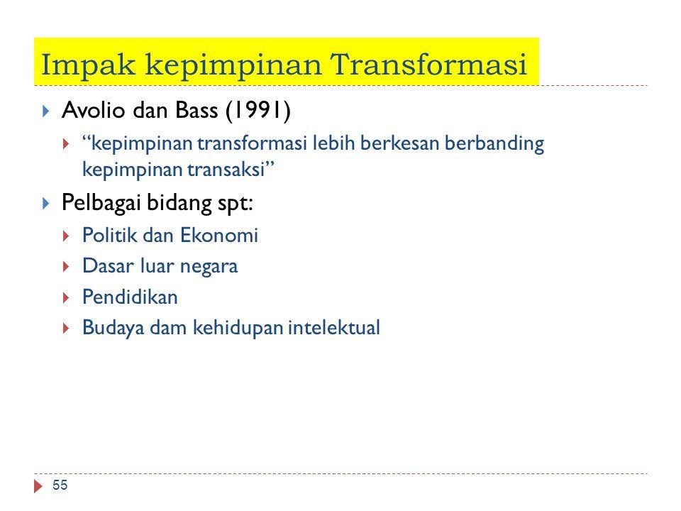 "Impak kepimpinan Transformasi 55  Avolio dan Bass (1991)  ""kepimpinan transformasi lebih berkesan berbanding kepimpinan transaksi""  Pelbagai bidang"