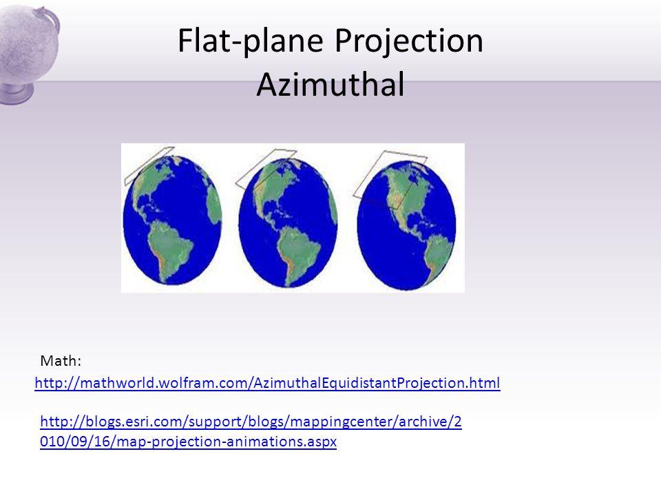 Flat-plane Projection Azimuthal http://mathworld.wolfram.com/AzimuthalEquidistantProjection.html Math: http://blogs.esri.com/support/blogs/mappingcent