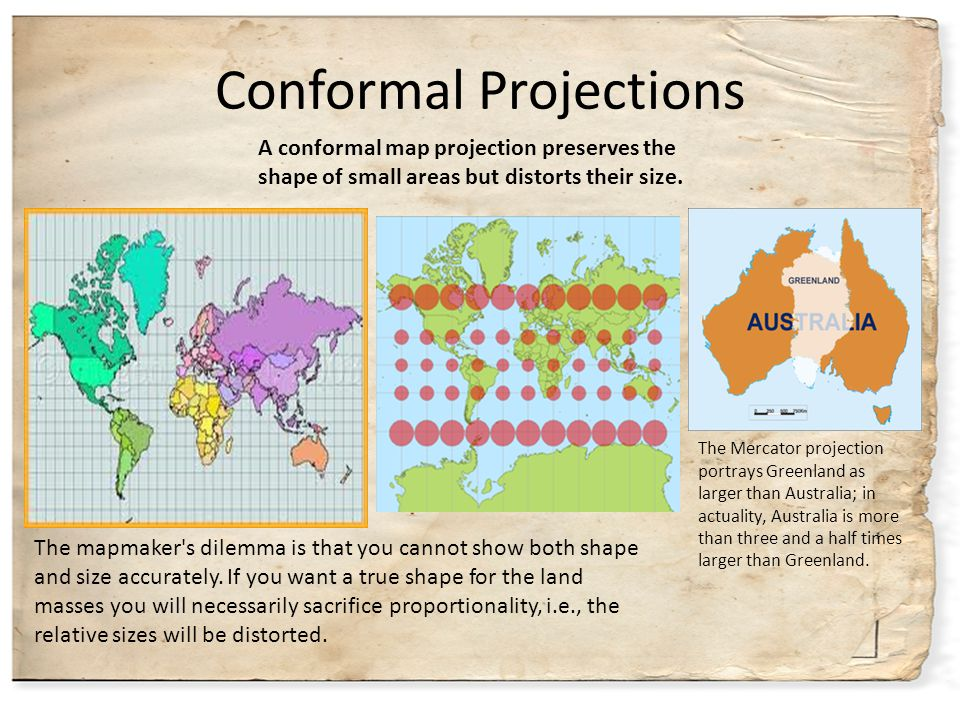 Conformal Projections The mapmaker's dilemma is that you cannot show both shape and size accurately. If you want a true shape for the land masses you