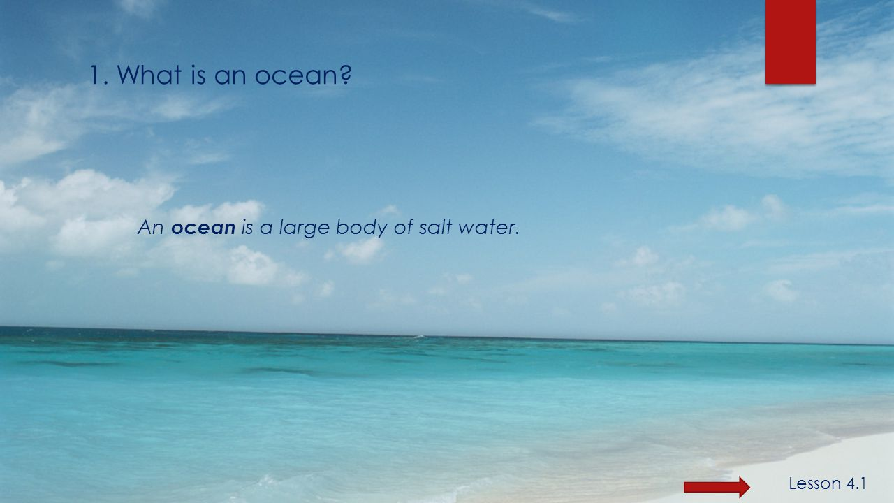 An ocean is a large body of salt water. 1. What is an ocean Lesson 4.1
