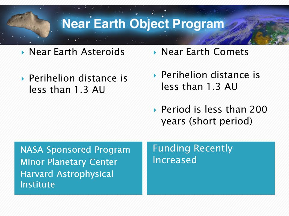 NASA Sponsored Program Minor Planetary Center Harvard Astrophysical Institute Funding Recently Increased  Near Earth Asteroids  Perihelion distance is less than 1.3 AU  Near Earth Comets  Perihelion distance is less than 1.3 AU  Period is less than 200 years (short period)