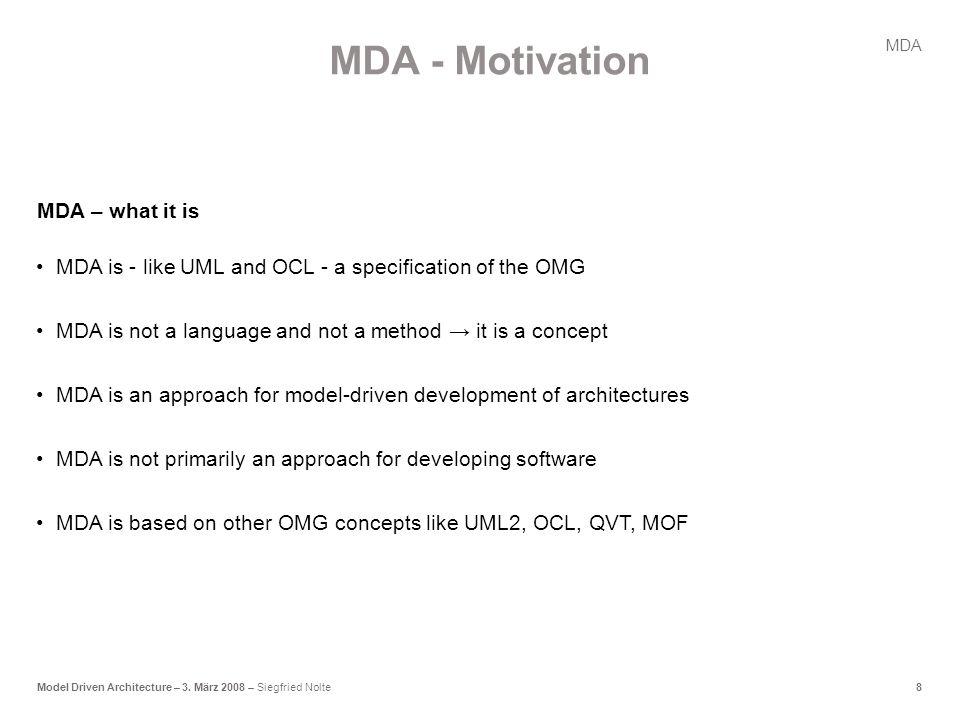8Model Driven Architecture – 3.