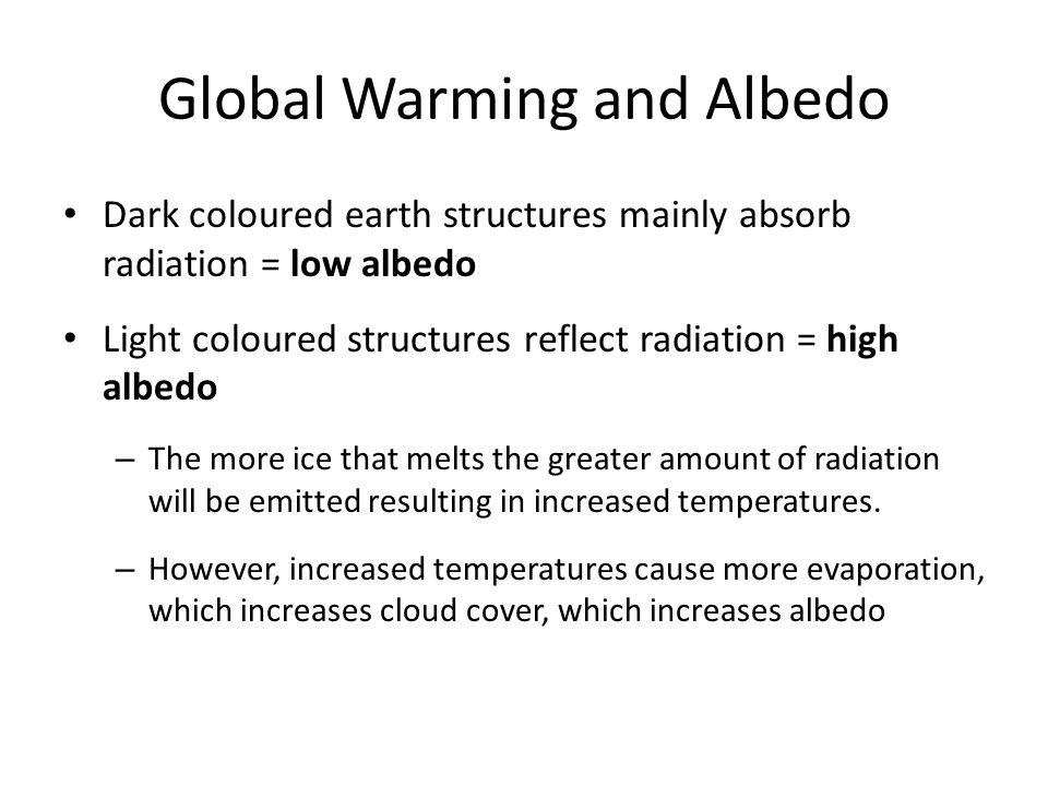 Global Warming and Albedo Dark coloured earth structures mainly absorb radiation = low albedo Light coloured structures reflect radiation = high albedo – The more ice that melts the greater amount of radiation will be emitted resulting in increased temperatures.