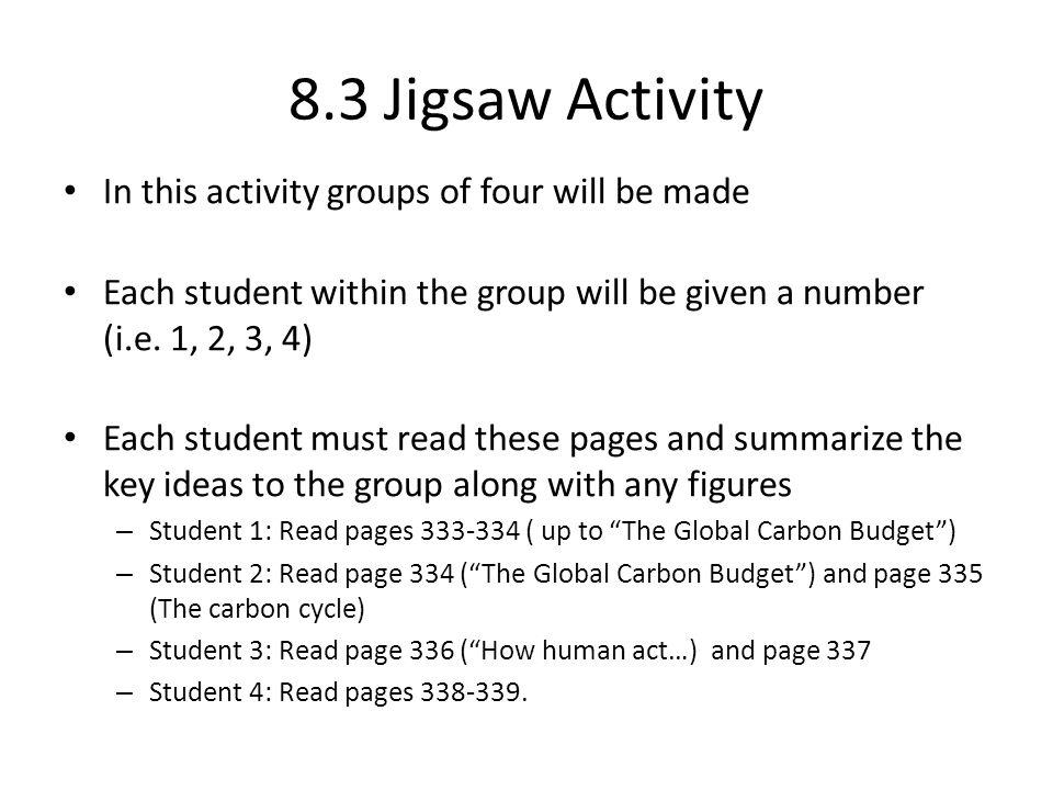 8.3 Jigsaw Activity In this activity groups of four will be made Each student within the group will be given a number (i.e.