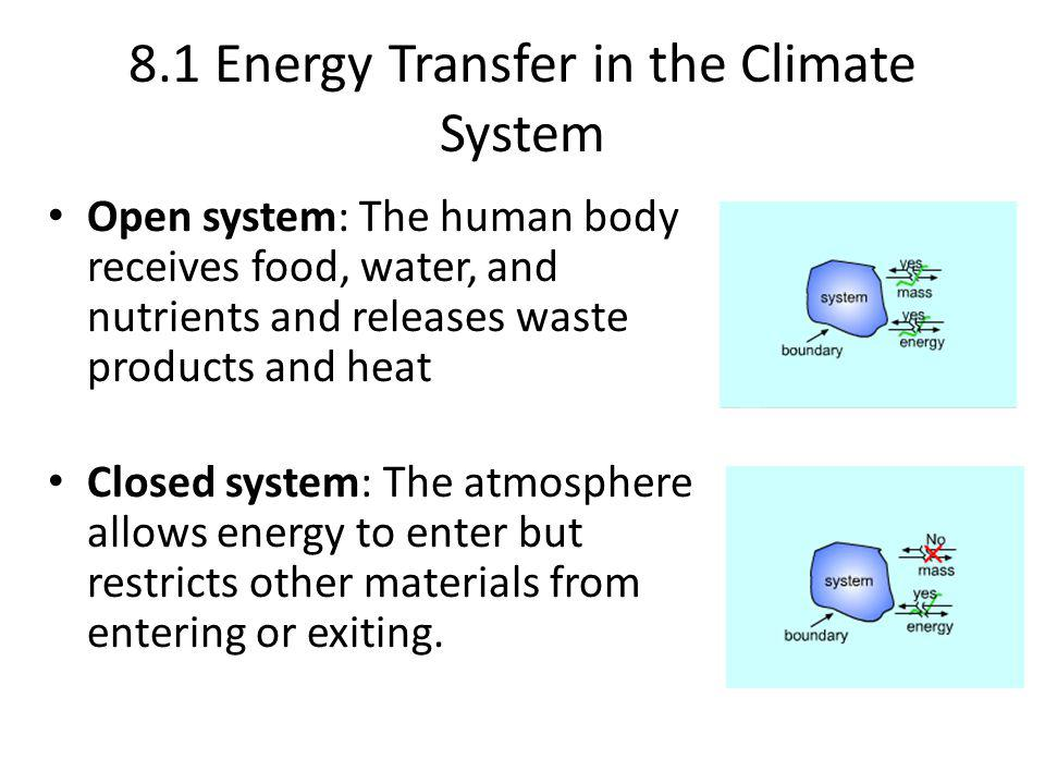 8.1 Energy Transfer in the Climate System Open system: The human body receives food, water, and nutrients and releases waste products and heat Closed system: The atmosphere allows energy to enter but restricts other materials from entering or exiting.