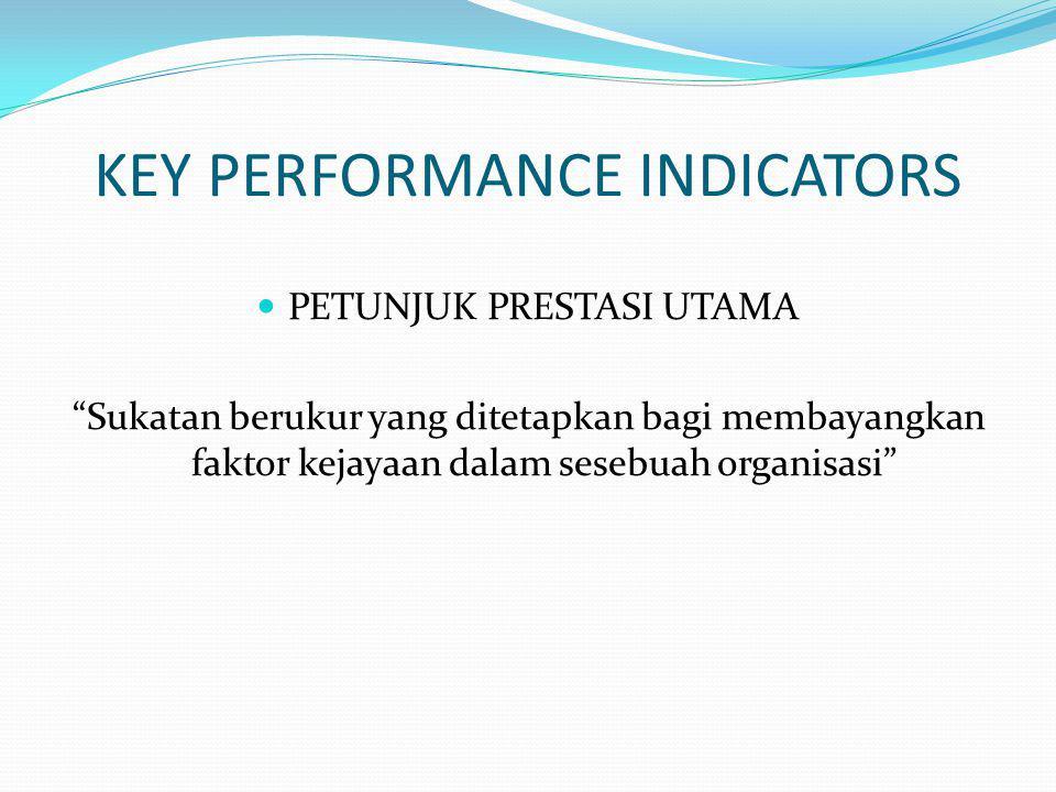 KEY PERFORMANCE INDICATORS PETUNJUK PRESTASI UTAMA Sukatan berukur yang ditetapkan bagi membayangkan faktor kejayaan dalam sesebuah organisasi