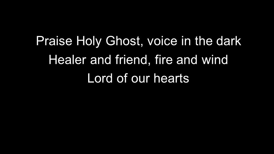 Praise Holy Ghost, voice in the dark Healer and friend, fire and wind Lord of our hearts