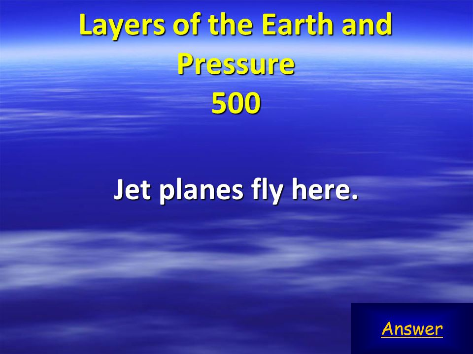 Layers of the Earth and Pressure 100 Game BoardTroposphere