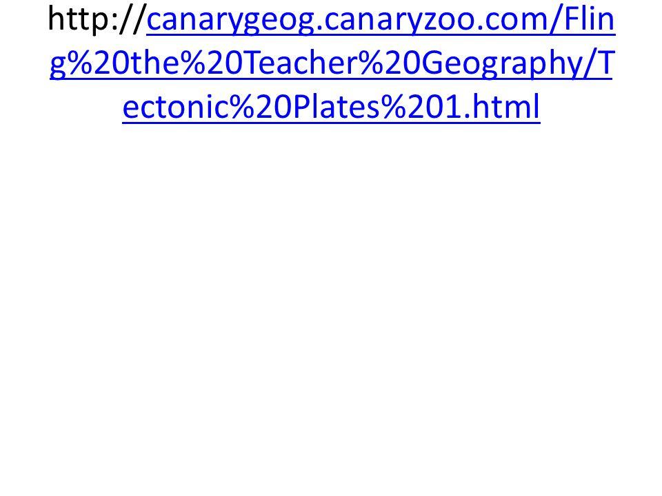 http://canarygeog.canaryzoo.com/Flin g%20the%20Teacher%20Geography/T ectonic%20Plates%201.htmlcanarygeog.canaryzoo.com/Flin g%20the%20Teacher%20Geogra