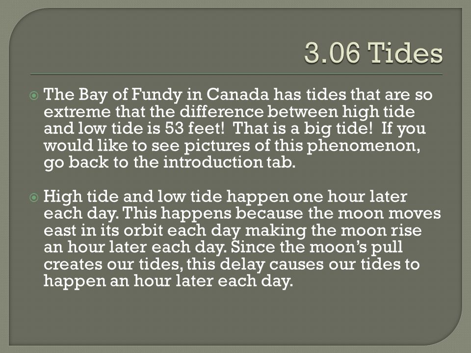  The Bay of Fundy in Canada has tides that are so extreme that the difference between high tide and low tide is 53 feet! That is a big tide! If you w