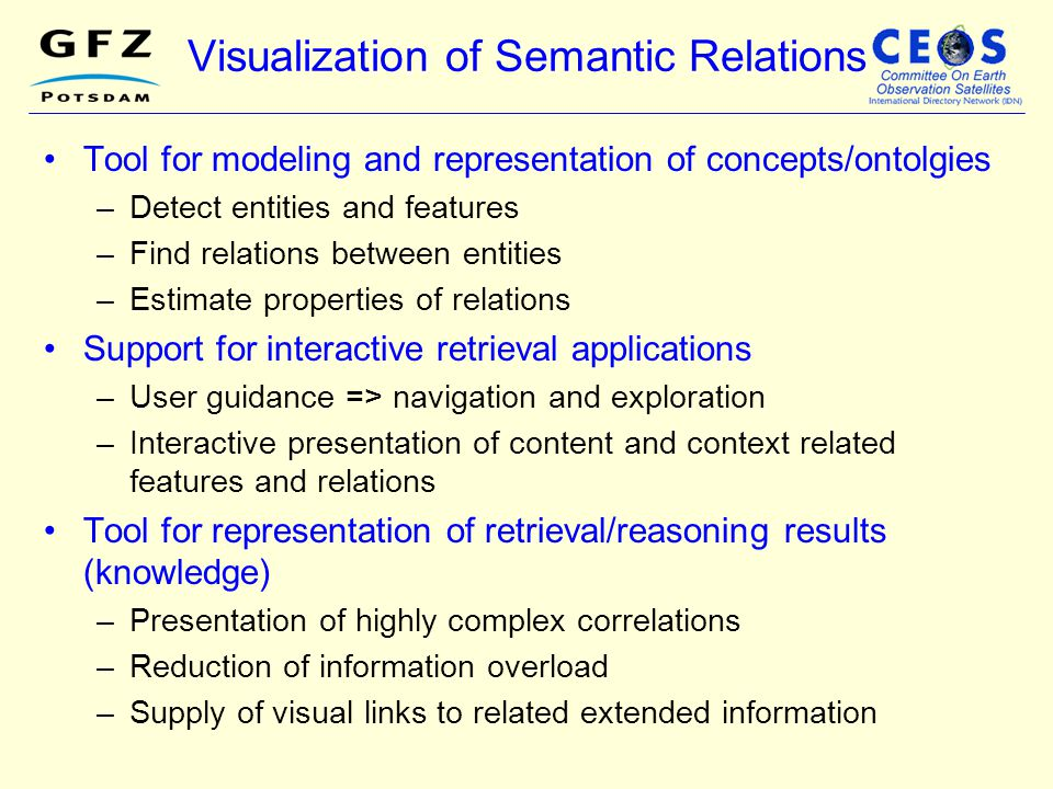 Visualization of Semantic Relations Tool for modeling and representation of concepts/ontolgies –Detect entities and features –Find relations between e