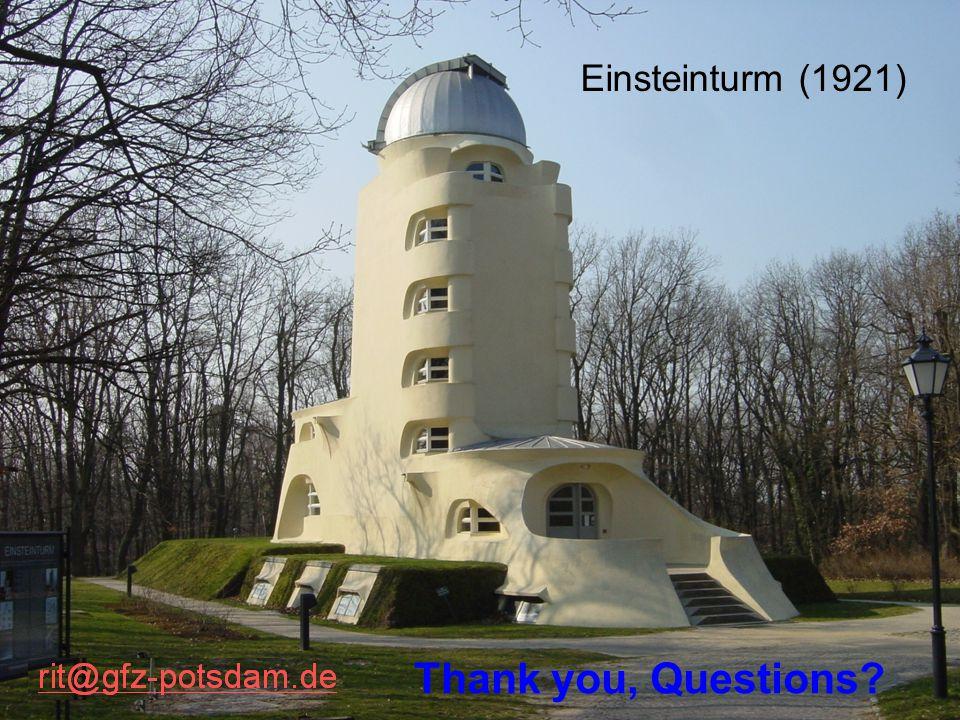 Einsteinturm (1921) Thank you, Questions?