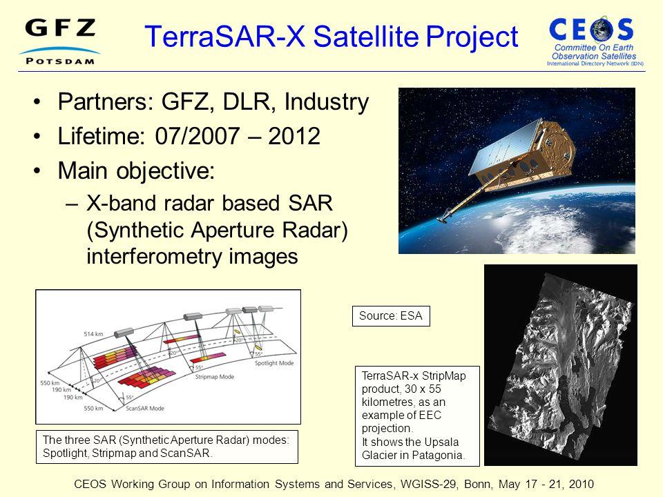 TerraSAR-X Satellite Project Partners: GFZ, DLR, Industry Lifetime: 07/2007 – 2012 Main objective: –X-band radar based SAR (Synthetic Aperture Radar)