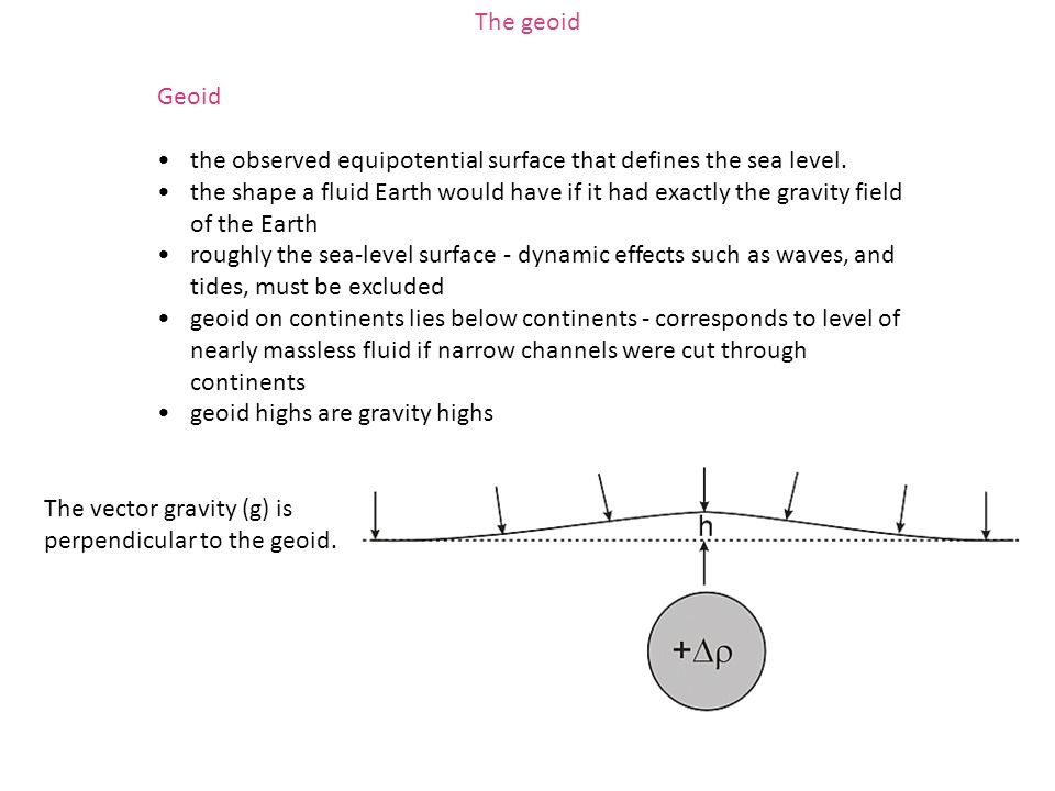 Geoid the observed equipotential surface that defines the sea level. the shape a fluid Earth would have if it had exactly the gravity field of the Ear