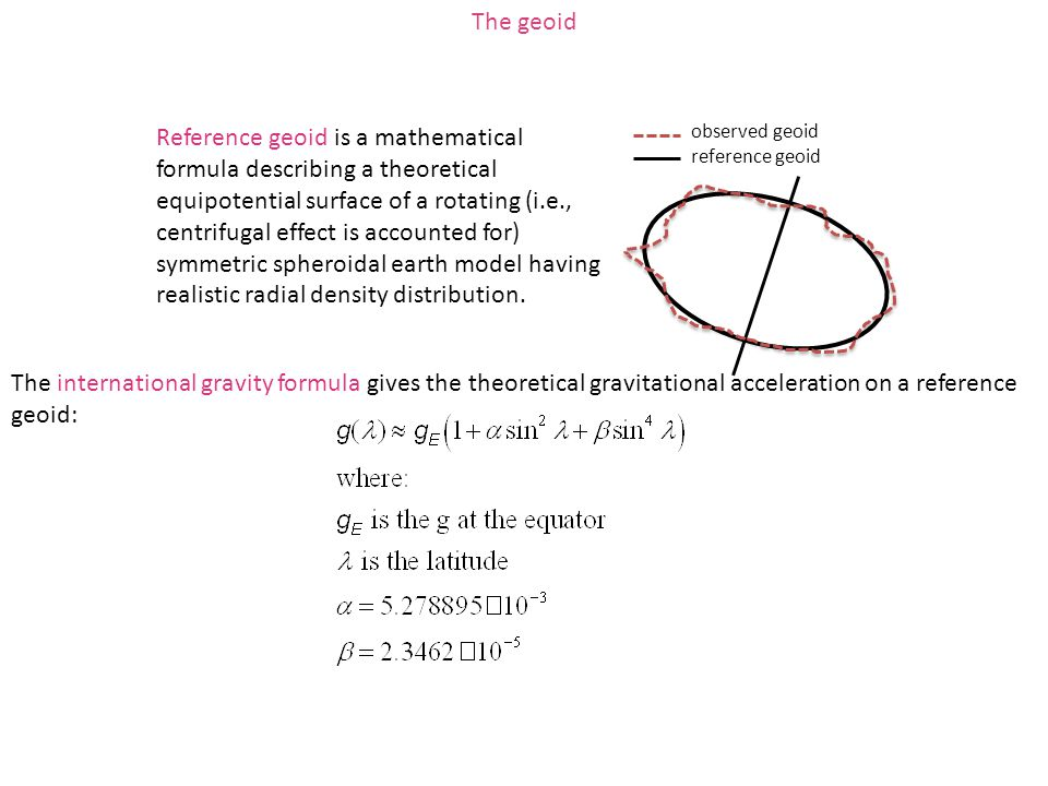 Reference geoid is a mathematical formula describing a theoretical equipotential surface of a rotating (i.e., centrifugal effect is accounted for) sym