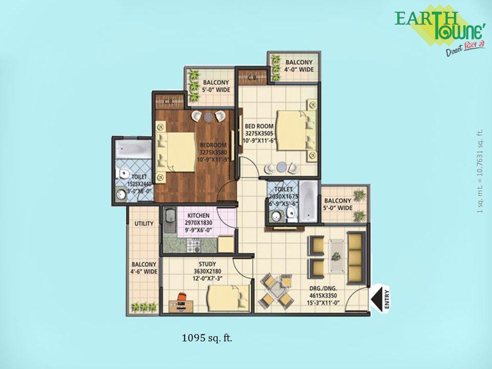 1 sq. mt. = 10.7631 sq. ft. 1095 sq. ft.