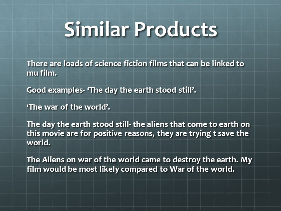 Similar Products There are loads of science fiction films that can be linked to mu film.