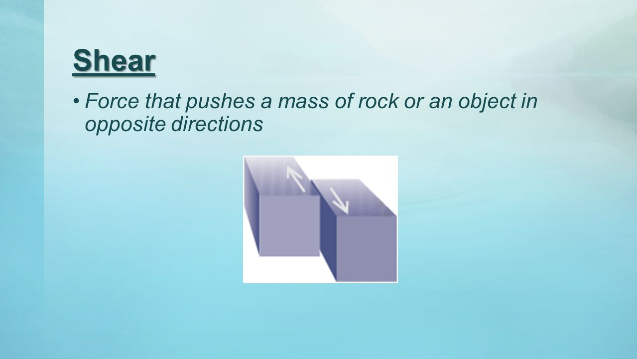 Shear Force that pushes a mass of rock or an object in opposite directions