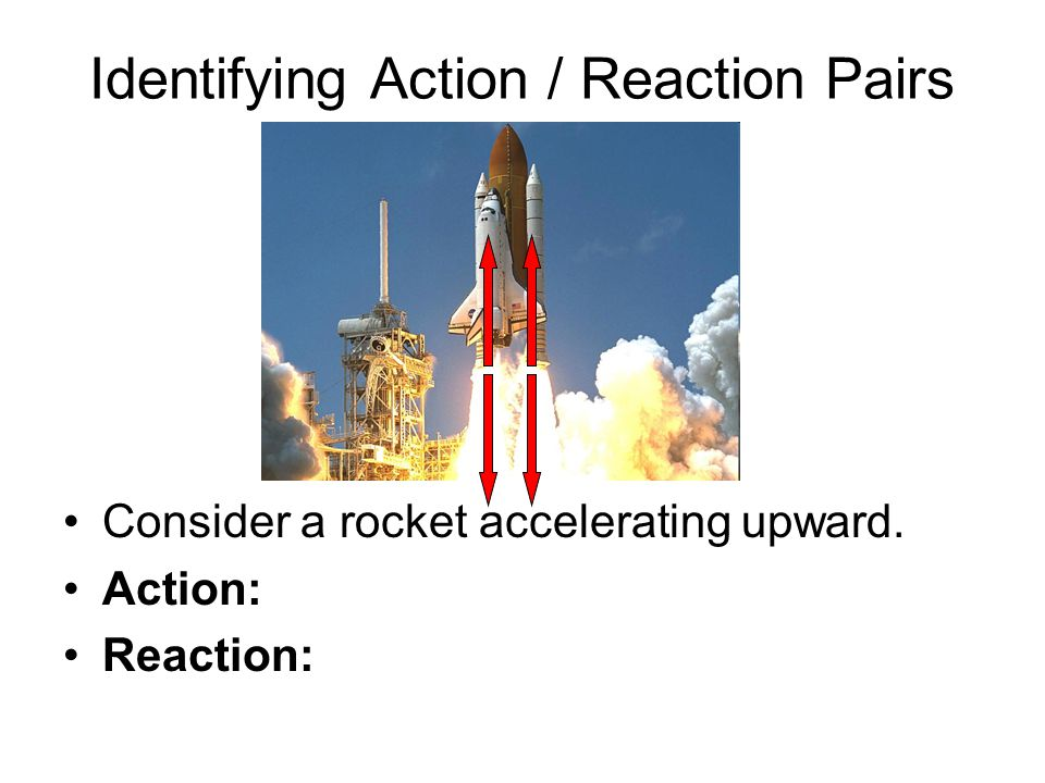 Identifying Action / Reaction Pairs Consider a rocket accelerating upward. Action: Reaction: